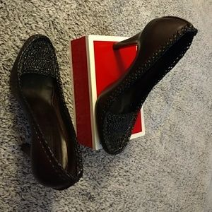 """Authentic Burberry leather/straw, heel 4"""" size 8"""